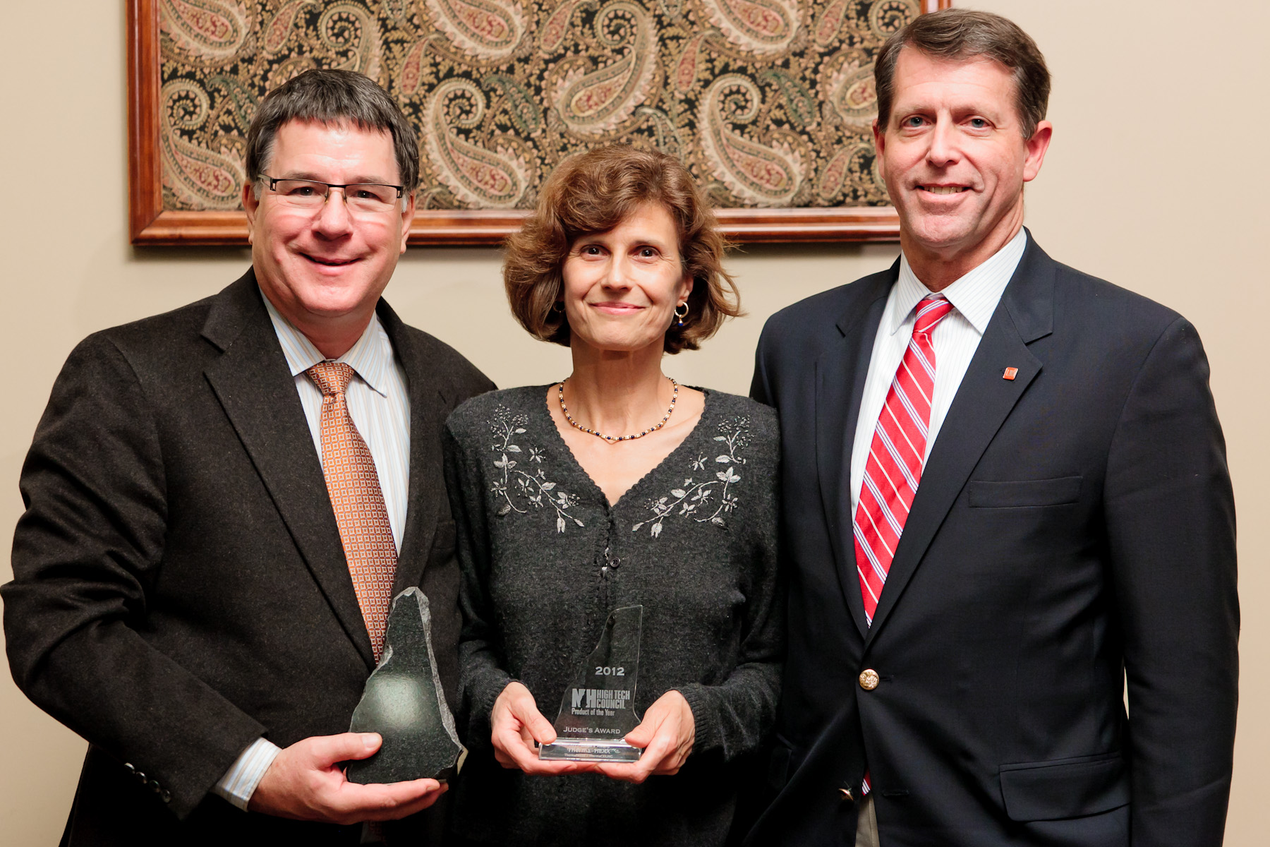 Portsmouth-based Therma-HEXX received the 2012 New Hampshire High Tech Council Product of the Year award Wednesday, Nov. 14. From left to right Robert Barmore, Susan Barmore, and John Gilbert.Photo credit: Matthew Lomanno Photography