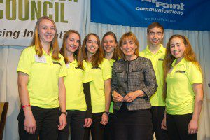 The Inventioneers surround Governor Maggie Hassan