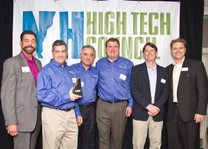 NH High Tech Council product of the Year Award Winner: Pictured L to R: Peter Antoinette, co-founder, president and CEO of Nanocomp Technologies; Jim Bernhard, VP of Engineering at Prosenex; Dr. Boris Golosarsky of Prosenex; Mike Brown, President,  Prosenex; Matt Cookson, Executive Director of the NH High Tech Council; and Paul Mailhot, VP of Business Operations at Dyn.